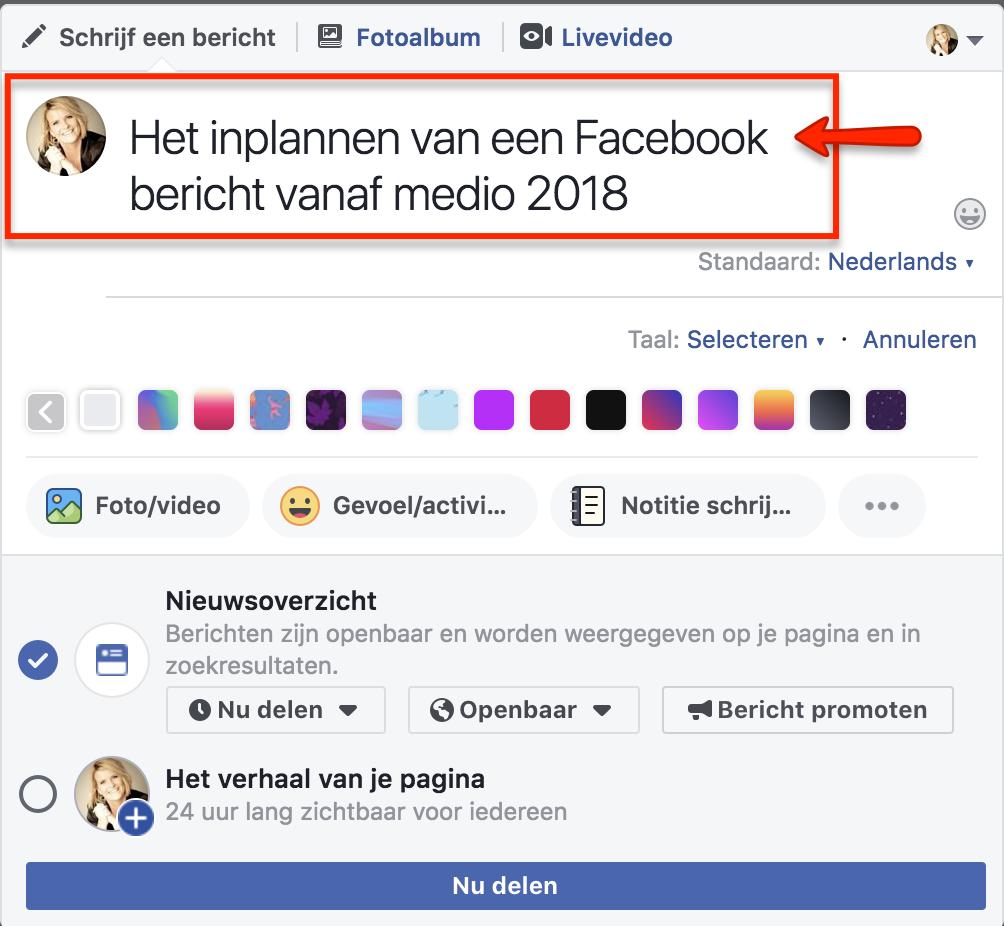 Facebook bericht inplannen 1