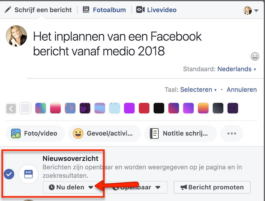 Facebook bericht inplannen 2