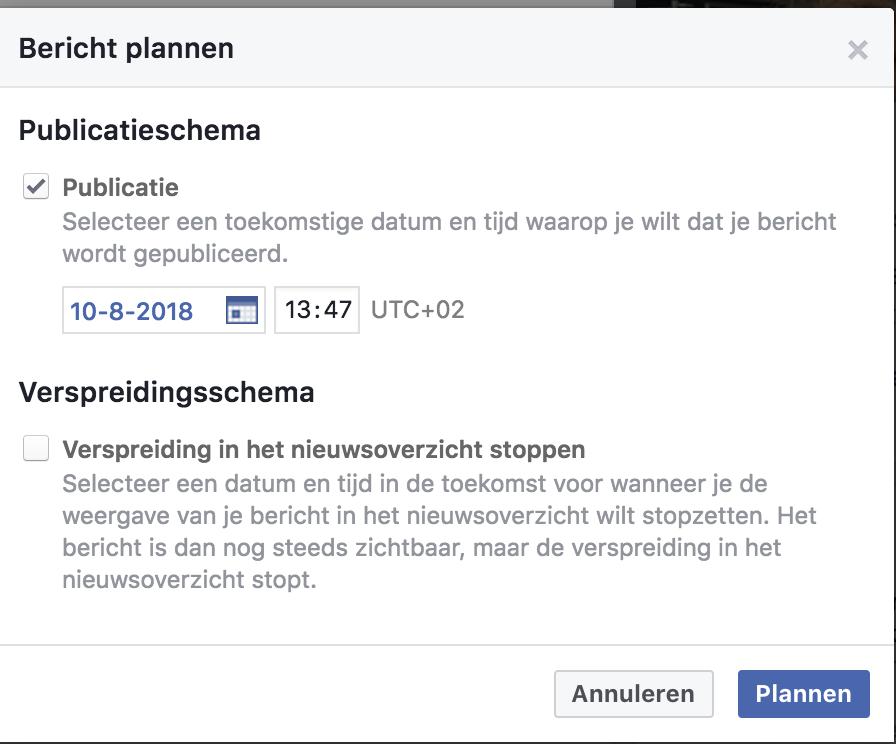 Facebook bericht inplannen 4