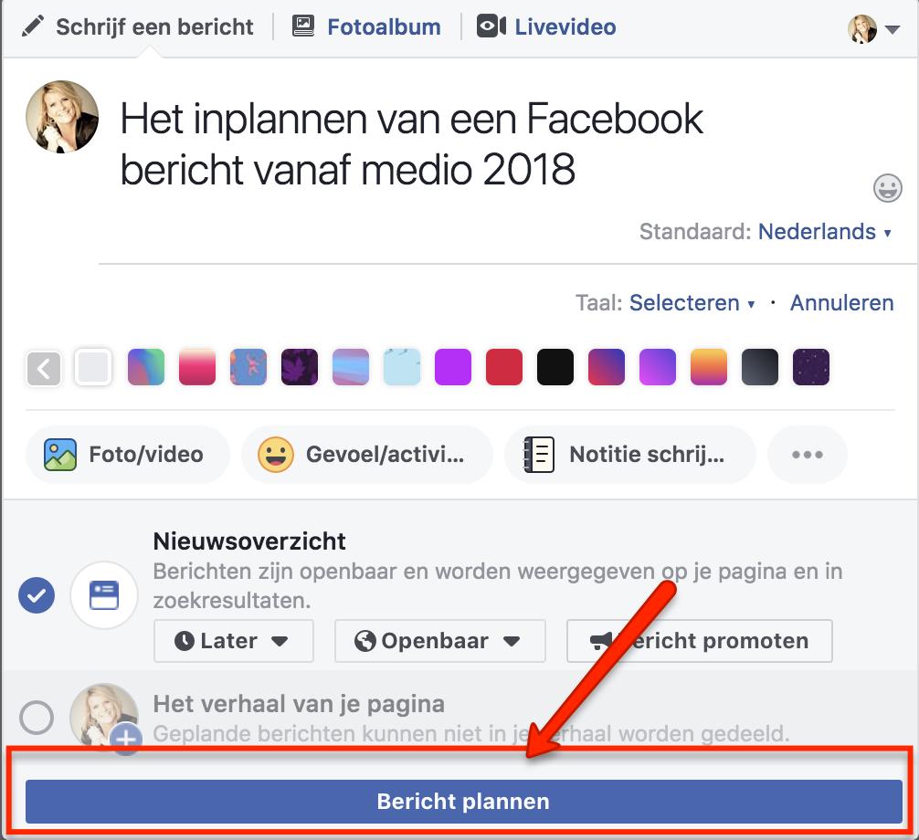 Facebook bericht inplannen 5