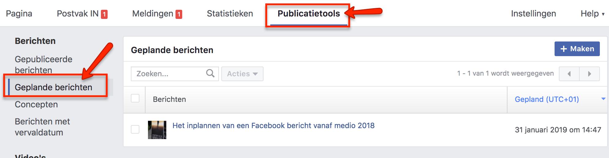 Ingeplande Facebook berichten wijzigen