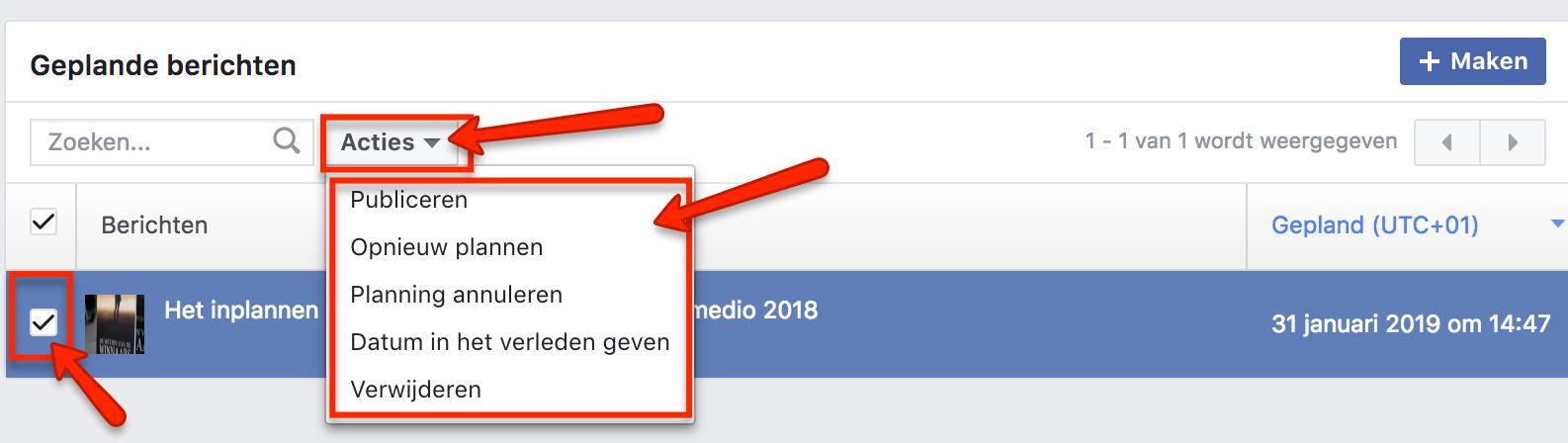 Ingeplande Facebook berichten wijzigen 2